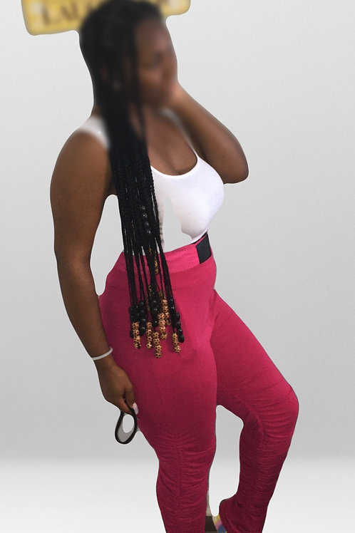 Stacked Up Joggers -Fuschia