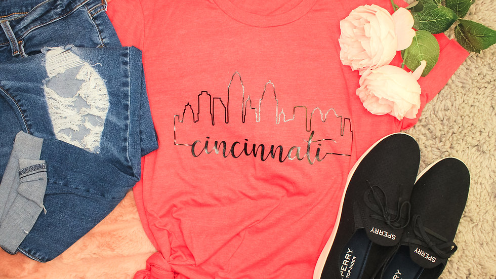 """Cincinnati Skyline"" Adult Tee"