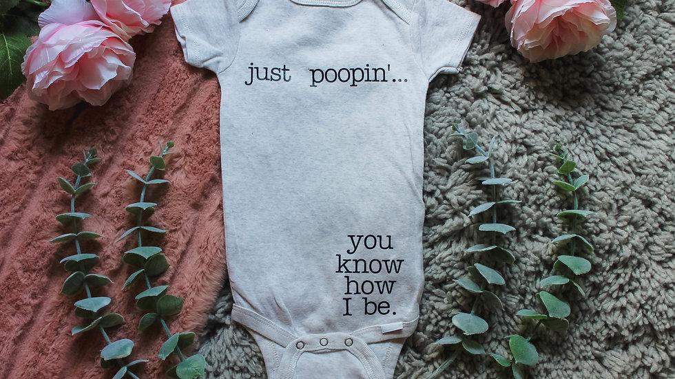 """""""just poopin'..."""" Onesie"""