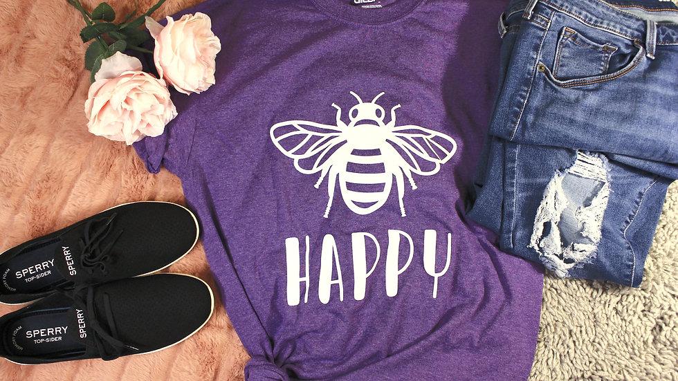 """Bee Happy"" Adult Tee"