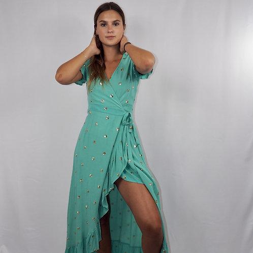 Robe ACAPULCO longue turquoise