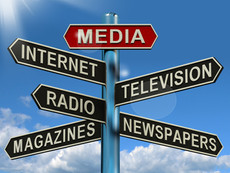 media-signpost-showing-internet-televisi