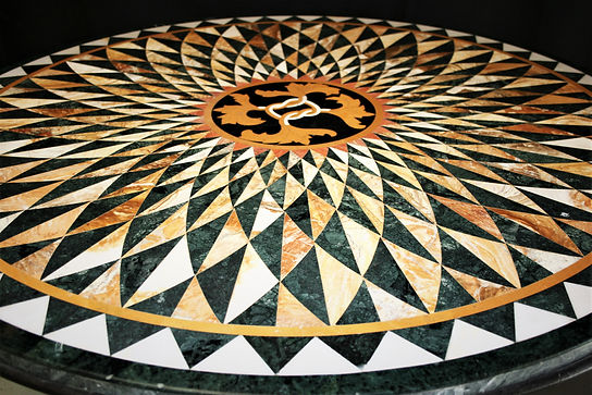 inlaid marble table.