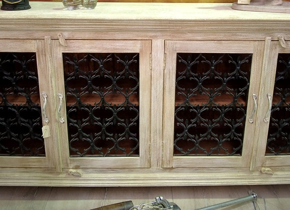 wrought iron and wood sideboard