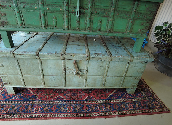 blue iron bound coffee table box