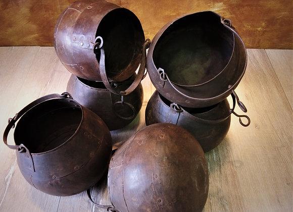 vintage iron glue pots