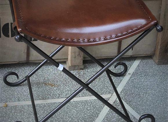 iron and leather folding stool
