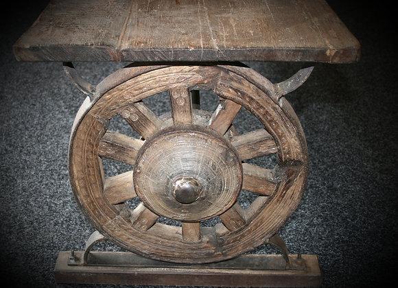 Wagon wheel bench seat teak