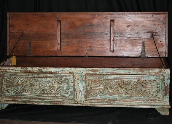 long recycled teak trunk, green patina