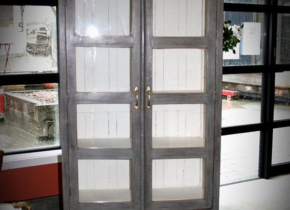 Glass door cabinet grey