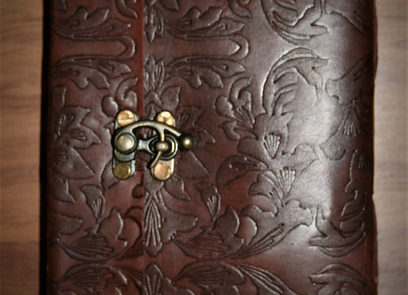 small side lock leather journal