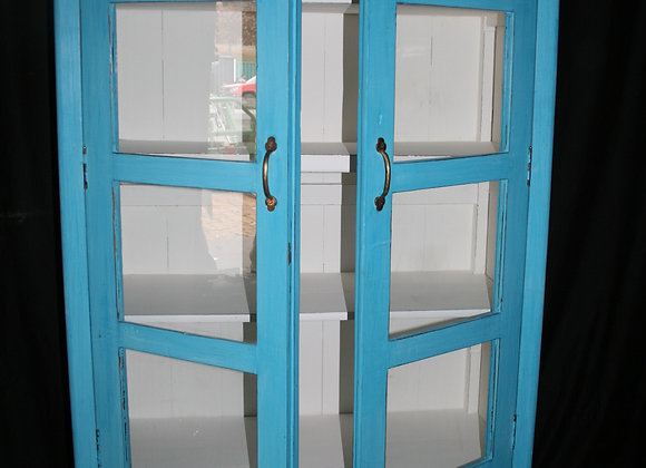 Bottom Drawer blue, glass front cabinet