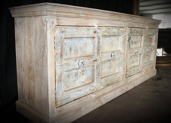 recycled washed teak 4 door buffet