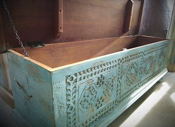 blue carved blanket box coffee table