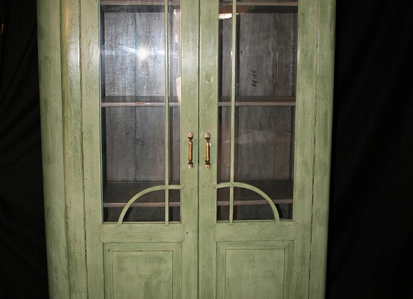green art deco glass front cabinet