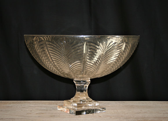 Chevron cut glass bowl