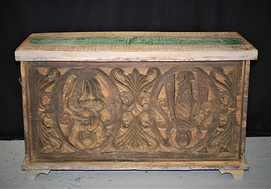 carved teak box. 145912
