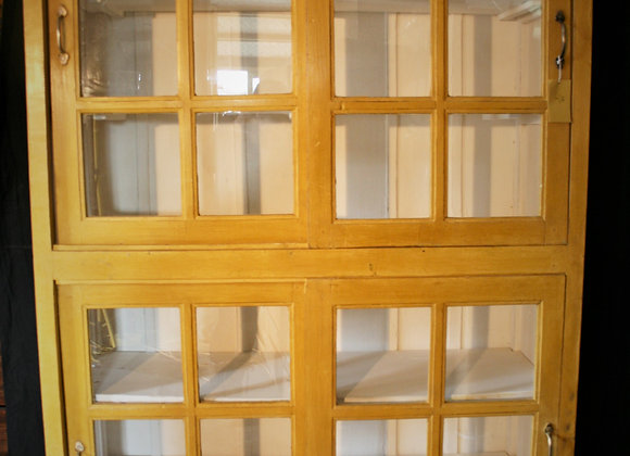double glass front cabinet, yellow