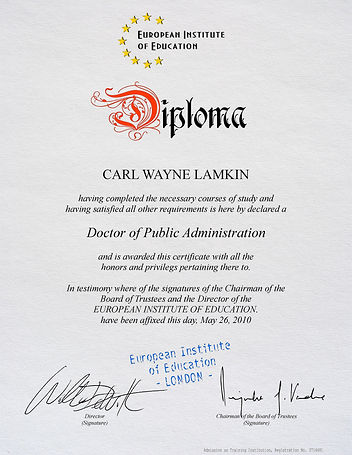 Diploma European Institute White (US Let