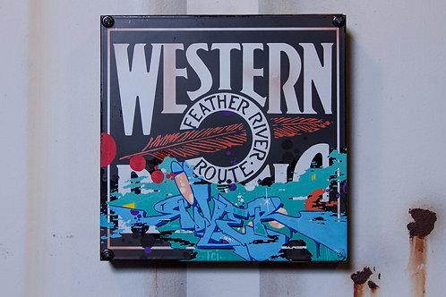 River Western Pacific Railroad Sign