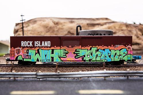 Phone Rock Island 60' Boxcar Ho Scale