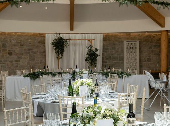 Wedding reception flowers at St Tewdrics