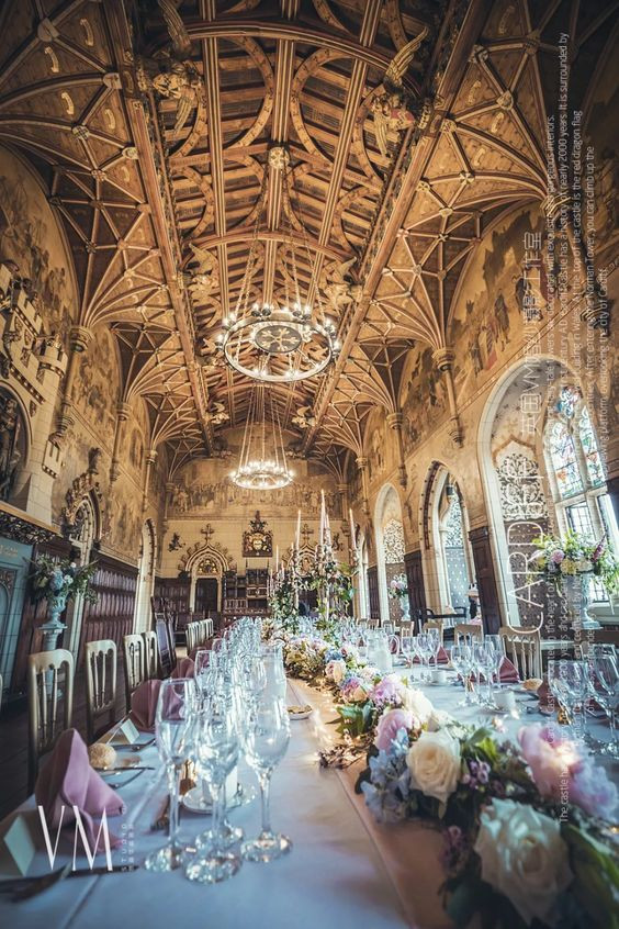 Wedding flowers in Banqueting hall Cardiff Castle