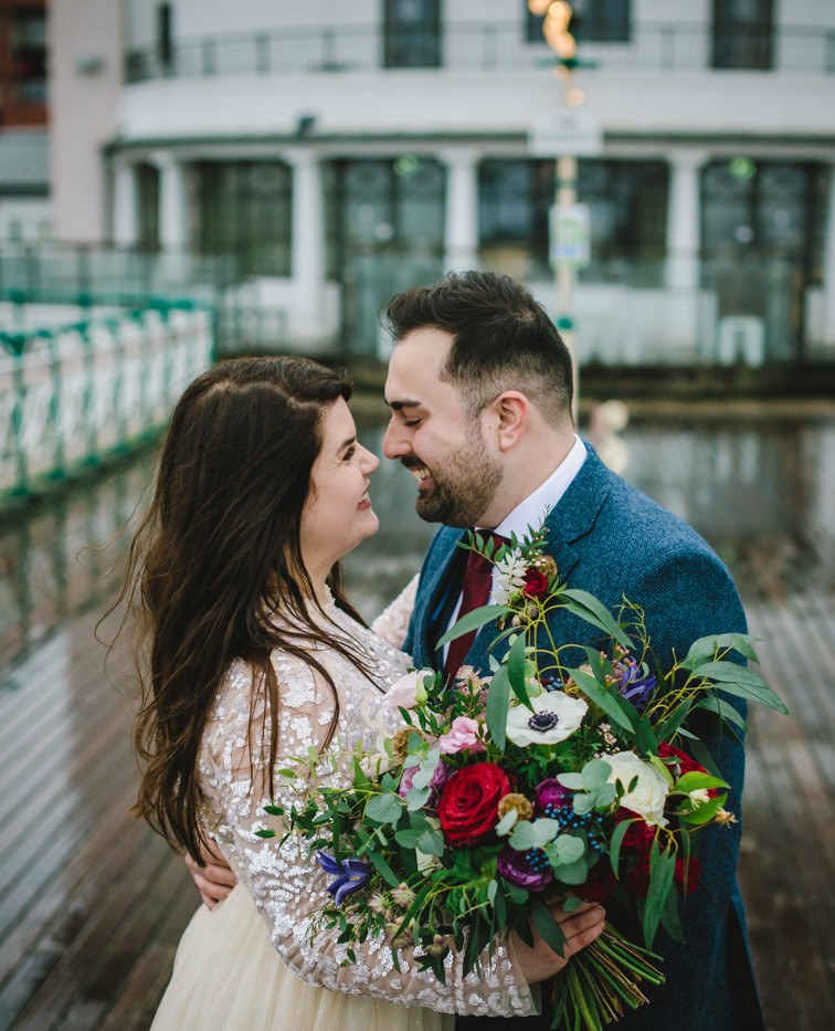 A happy wedding couple in Penarth