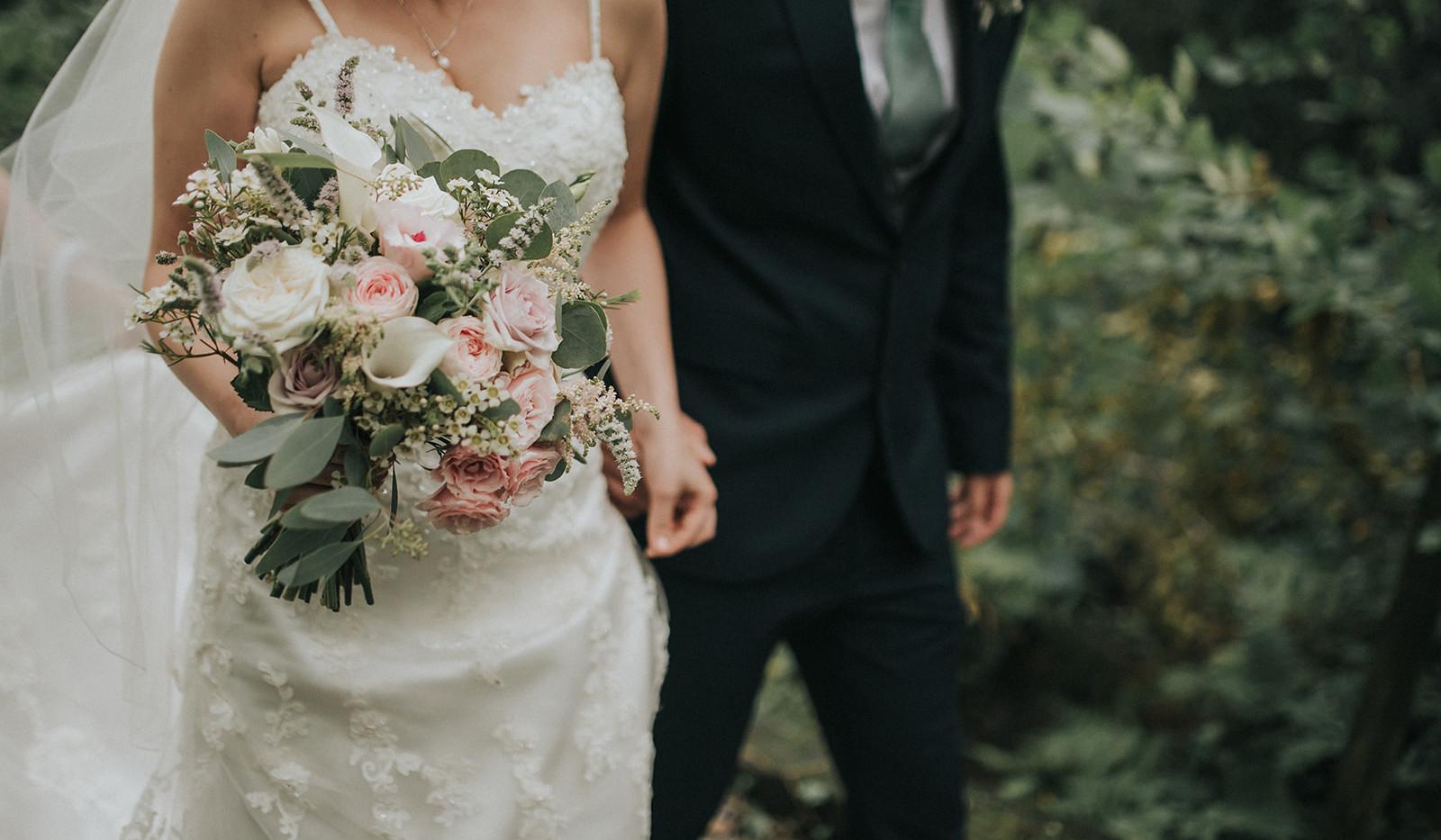 Blush pink wedding flowers