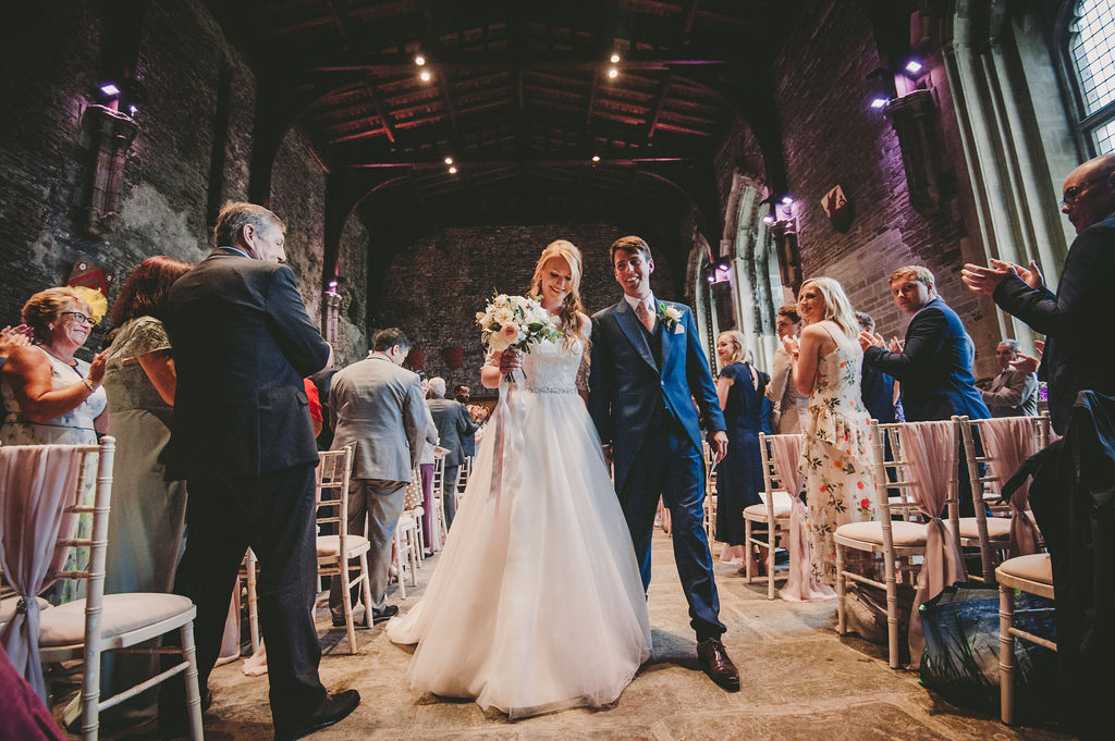 Wedding aisle Caerphilly Castle