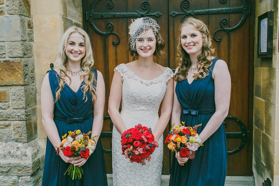 Red and blue wedding flowers