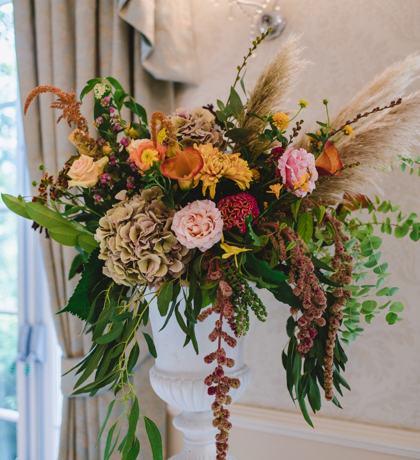 Rustic wedding flower pedestal