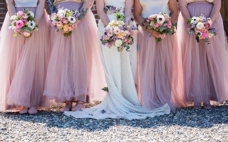 Boho bride and bridesmaid wedding bouquets