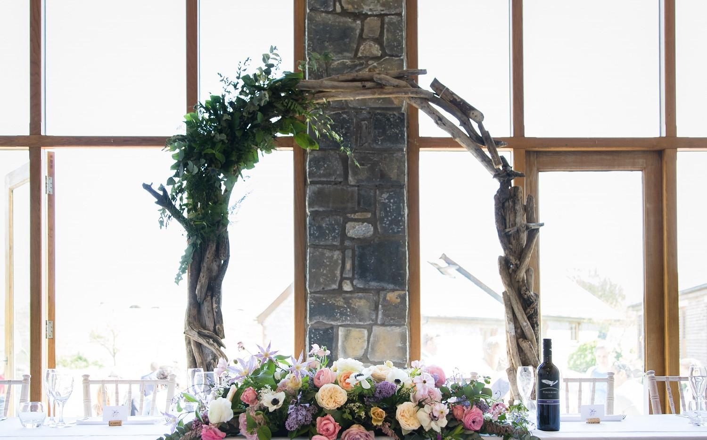 Rosedew farm wedding ceremony flowers