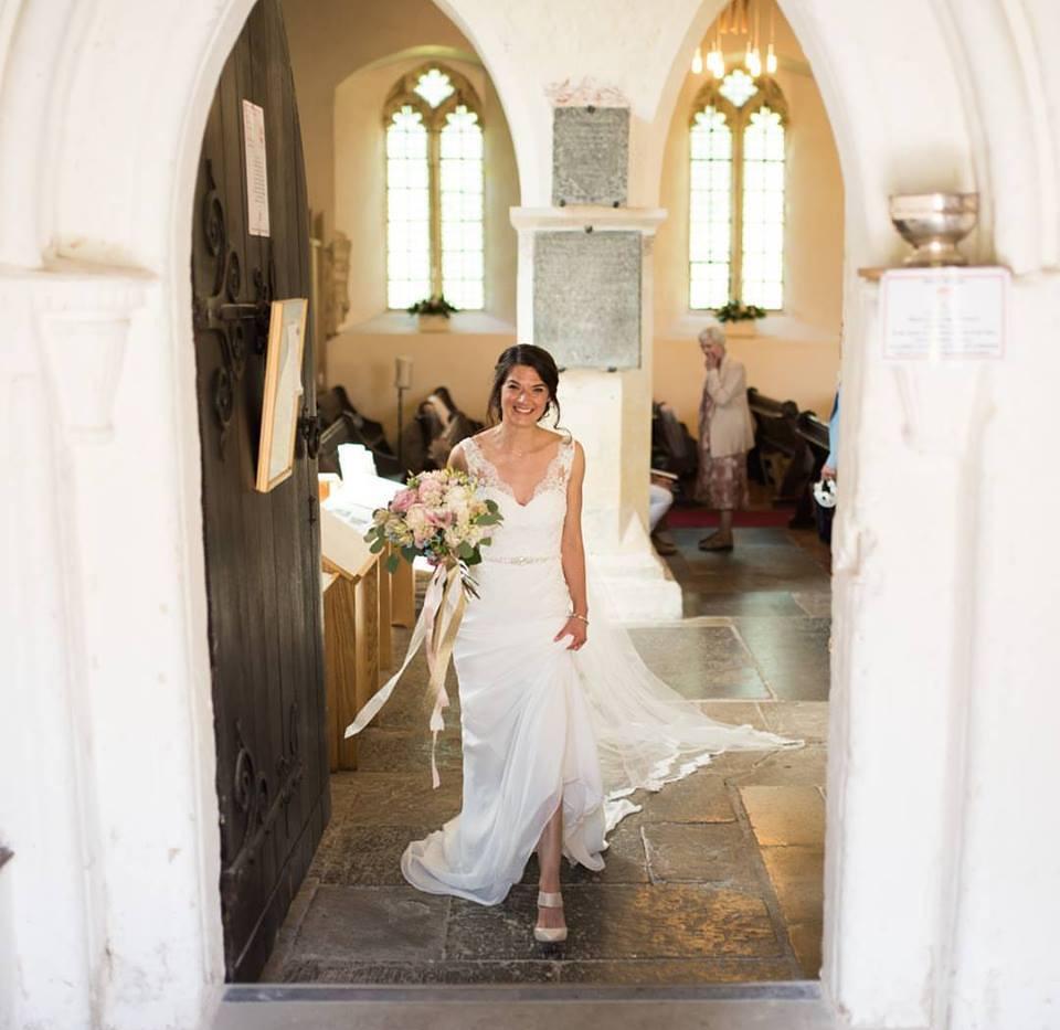 Bridal bouquet in church view