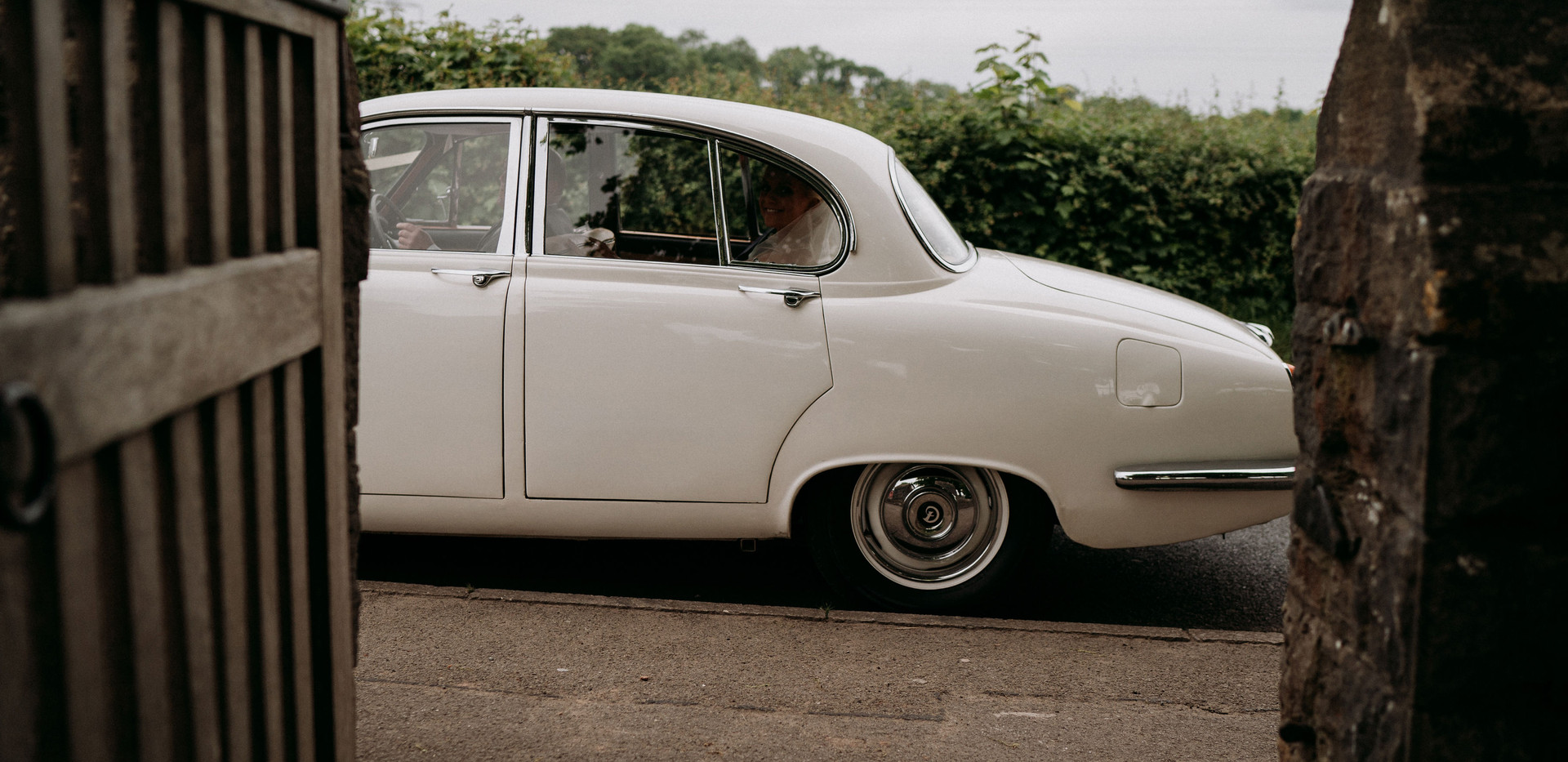 Classic white wedding car