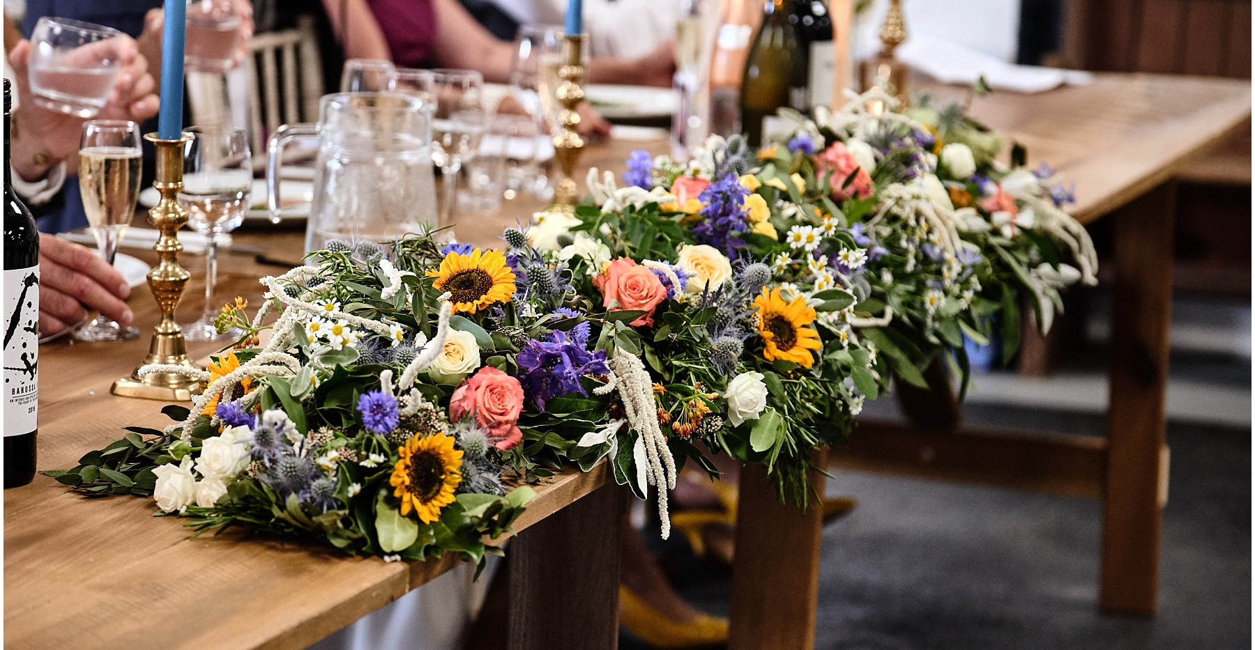 Head table wedding flowers