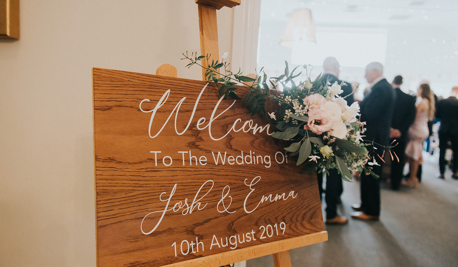 Wedding welcome sign flowers