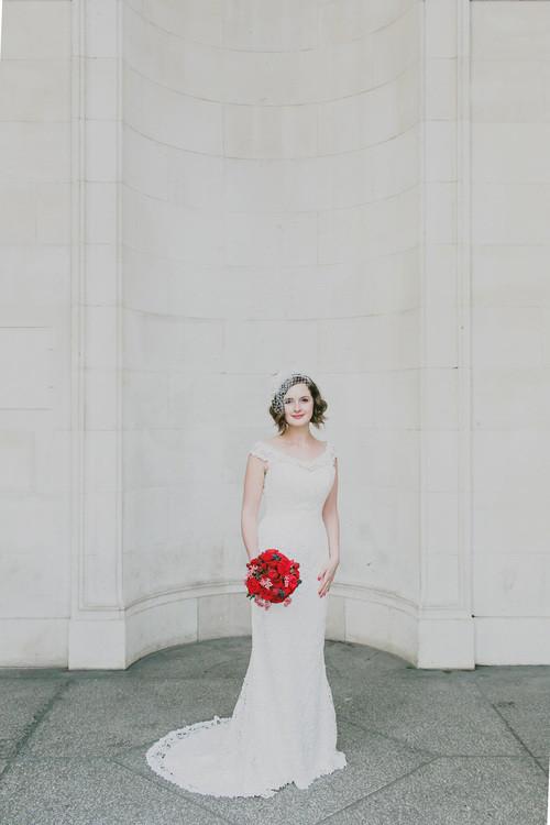 Elegant bride and bouquet