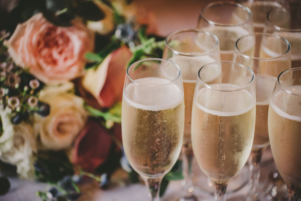 Wedding flowers and champagne