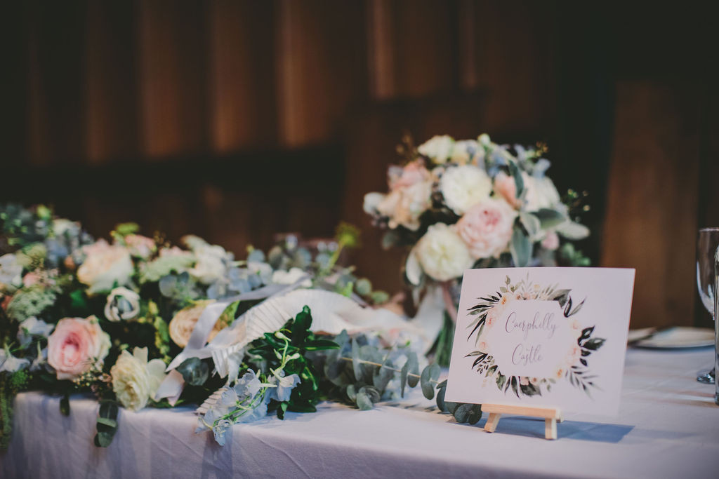 Wedding bouquet and top table flowers