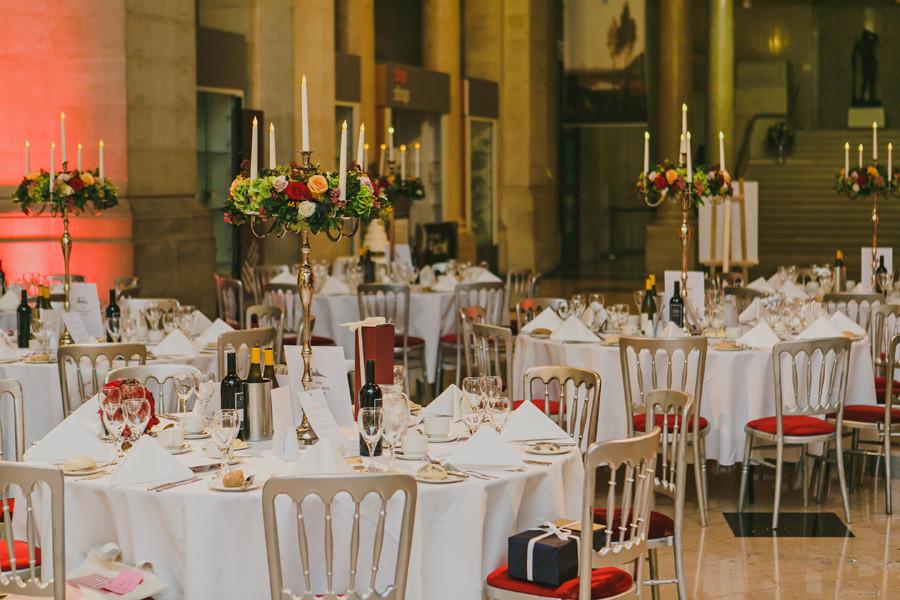 Wedding centrepieces in Cardiff Museum