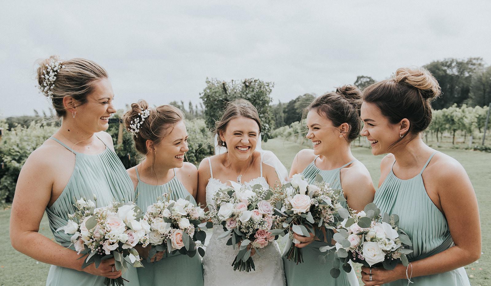 Bride and bridesmaid wedding bouquet