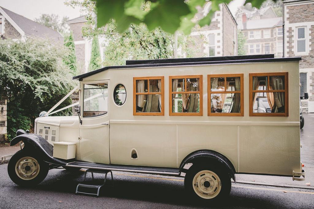 Vintage wedding car Cardiff