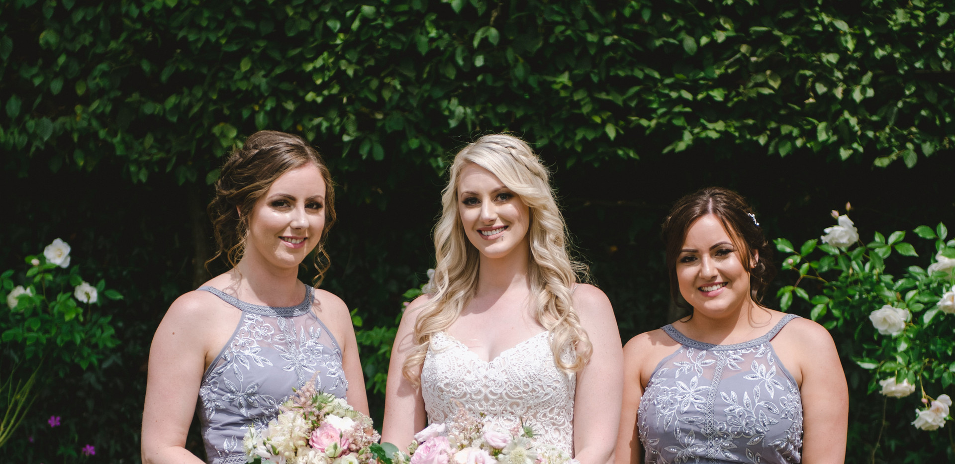 Blush bouquets for the bride and bridesmaids
