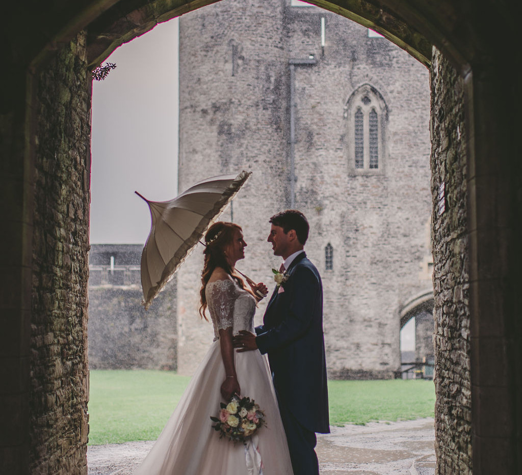 Bride and Groom Caerphilly Castle