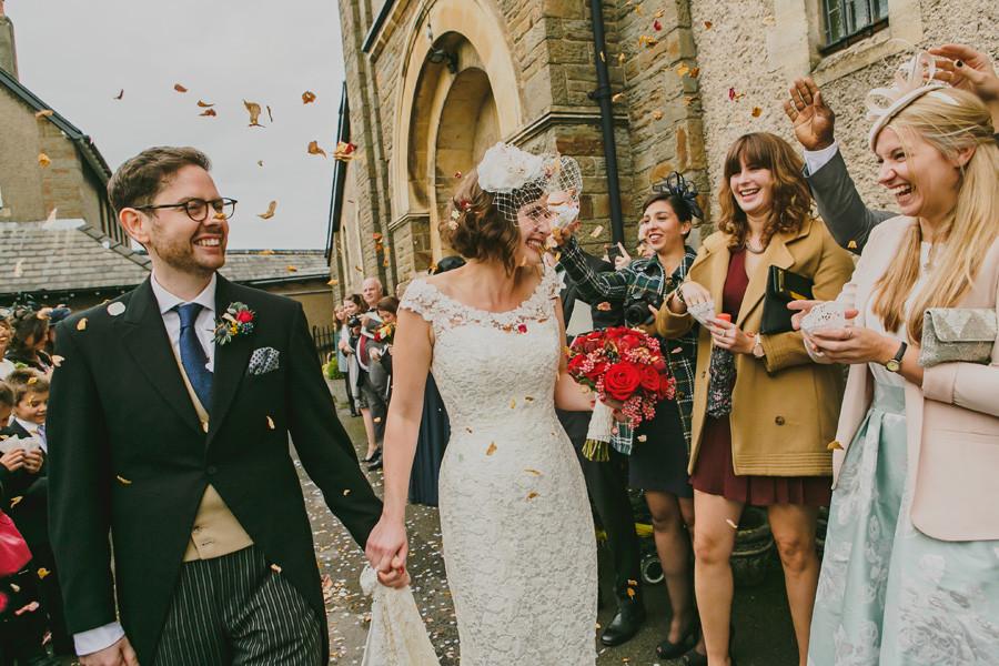 Wedding bouquet and coffetti