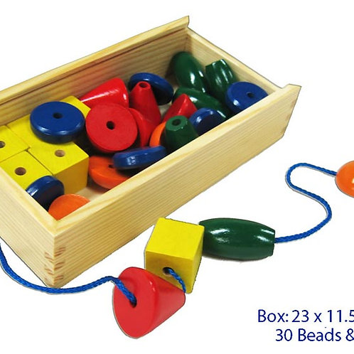 Beads - 30 pieces + 3 Laces in Wooden Box