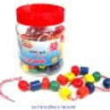 Lacing Beads in a Jar - 90 pieces