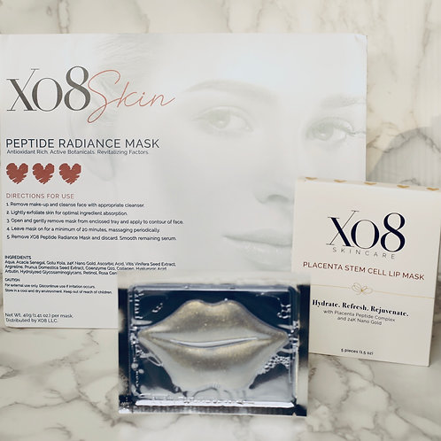 XO8 Peptide Radiance Face Mask & Placenta Stem Cell Lip Mask & Eye Mask